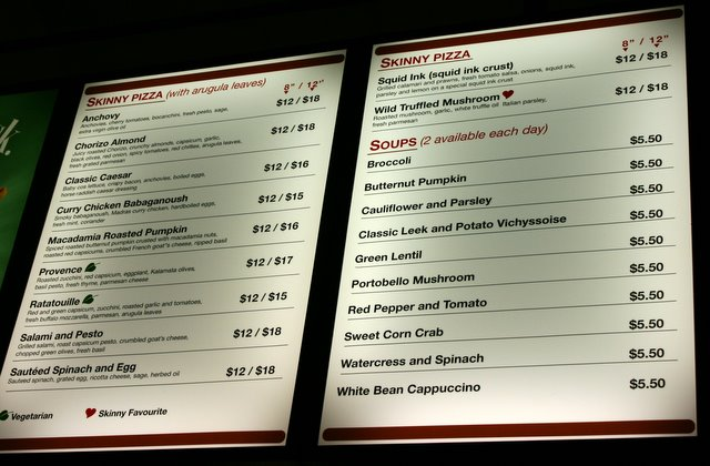 Pizza and soup menu