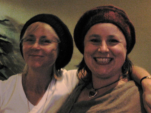 Sandra and Sooz in matching hats