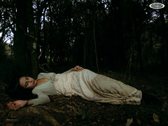 the poison took effect and she slept soundly (some_stuff) Tags: wood wild woman tree green girl yellow fairytale forest vintage dark eyes hands die dress boots body sleep sony makeup lips poison drama effect epic slept lay soundly