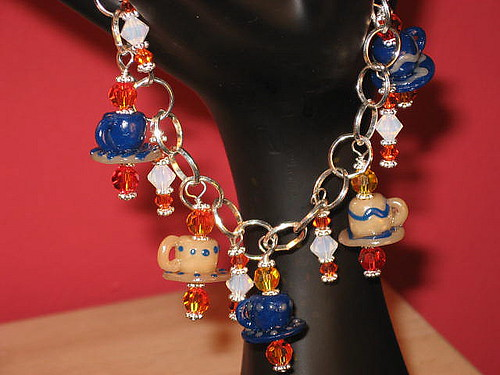 Tea cup charm  sterling silver charm bracelet polymer clay