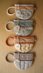 TeaCup pouches 63-66 (PatchworkPottery) Tags: bag tea handmade sewing crafts country purse pouch zipper quilted patchwork teacup zakka wristlet