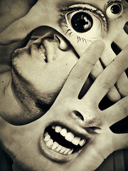 Scream at the Moon (A.K.A. The Eyes of the Uknown) (Felipe Morin) Tags: man face photomanipulation mouth lights eyes hands shadows purple surrealism surreal scream bite surrealist unreal greys aplusphoto