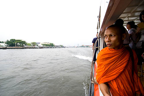 A monk on the Chao Phraya Express Boat, Bangkok