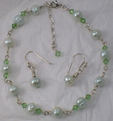 Sterling Silver, Fresh Water Cultured Pearls & Swarovski Crystal ANKLET w/ EARRINGS (Maria White Designs) Tags: handmade cultured swarovskicrystals freshwaterpearls
