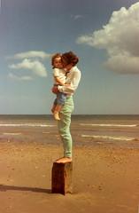 Edible Children Two. Mablethorpe  1988? (ART NAHPRO) Tags: family sea beach vintage children seaside kiss nahpro 1988 lincolnshire johanna motherandchild mablethorpe rachaellouisejacksonvet1october1986to4april2012missingyoualways