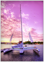 Trimaran (Kaj Bjurman) Tags: pink sunset clouds boats eos boat sweden stockholm sverige leaning hdr kaj trimaran cs3 photomatix 40d bjurman