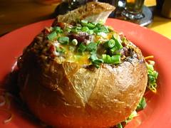 Chili in a sourdough bowl