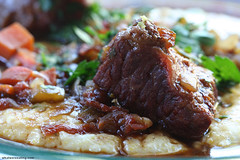 Braised Beef over Cheese Grits (cheezemaster) Tags: california thanksgiving food cheese yummy sandiego good beef tasty delicious recipes stewed grits cheesey foodblog whatwereeatingcom