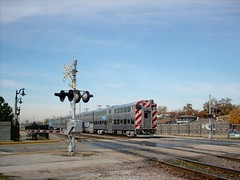 An eastbound Metra commuter local approaching the Franklin Park Illinois commuter rail station. October 2007.