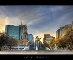 The Victoria Square Fountain - HDR (:: Artie | Photography ::) Tags: park colour building classic water fountain architecture photoshop canon colours cs2 tripod victorian kitlens statues australia structure adelaide 1855mm southaustralia efs hdr victoriasquare queenelizabeth artie 3xp photomatix tonemapping tonemap 400d rebelxti