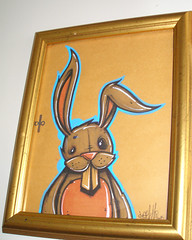 "*SOLD* Framed ""BUNNY"" (SEAMO ONE) Tags: streetart bunny bunnies art aka gallery framedart stickers paintings canvas urbanart lowbrow dtc artshows gba graffitiart seamo kyt diar handmadeart sinik 2vk mostlytruetailsfromtherails"