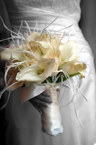This cream and white wedding bouquet is from Branching Out Event Florists