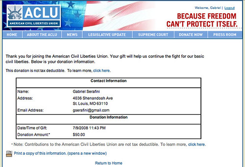 FISA vote = unsubscribed from Obama's emails. Now member ACLU.