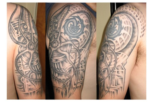 Biomechanical Tattoo by Sacred Heart Tattoo, Lincoln NE