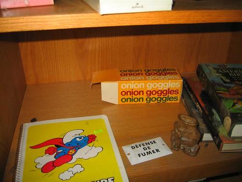 Onion goggles box on the bookshelf