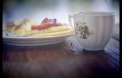 (llore87) Tags: food cup breakfast yum tea good strawberries eggs mornings slowly simple breaks