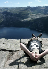 On the top of the world (ingridesign) Tags: trip summer cliff nature beautiful norway rock view ben plateau great relaxing massive pulpit misfits preikestolen laying kjerag lysefjorden inthesun hikinh forsand