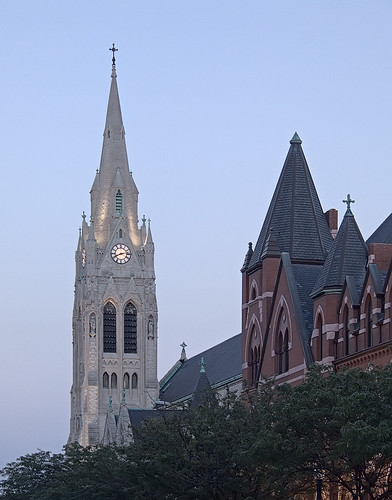 Saint Francis Xavier Church, in Saint Louis, Missouri, USA - tower at dusk