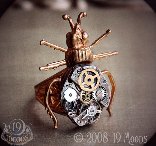 BEETLE MECHANIQUE Vintage Watch Ring by 19 Moons STEAMPUNK 3/4 View