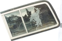 Glass Etched Cowboy & Bronco (Imagination Unincorporated) Tags: horse window truck cowboy pickup rodeo bronco etch glassetch automotiveglassetch