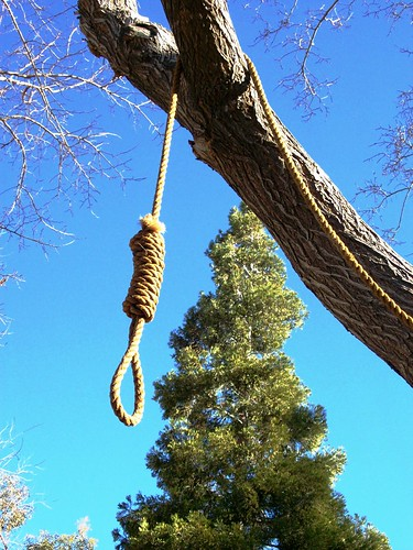 Get a rope!  Hangman's noose hanging from the tree at the 'ghost town' of Corlew's Silver City in remote Bodfish, CA - kernvalley035x by mlhradio.