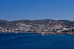 Bodrum, Turkey (J.S. Hollands) Tags: ocean city blue white june port turkey boats bay ship aegean hills peninsula 2008 province bodrum yachting mugla halicarnassus