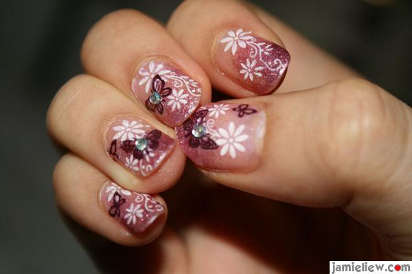 purple konad nail design
