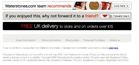 Waterstones refer to a friend email