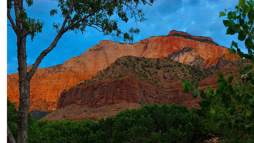 Zion in morning (sunrise behind me)