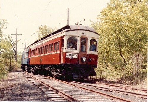 Chicago, Aurora & Elgin wooden interurban train. The Fox River Trolley Museum. South Elgin Illinois. May 1983. by Eddie from Chicago