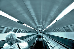 (Ioannis Karydis) Tags: blue blackandwhite stairs canon lights women hungary metro wordpress budapest perspective future