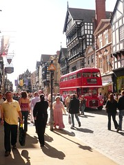 Chester: The Rows (chairmanblueslovakia) Tags: city red two england bus london english clock buildings cross cheshire roman jubilee 1987 centre victorian ruin victoria tourist tudor chester rows level routemaster arcades ye olde throng the quintessential castra englande devana galleried