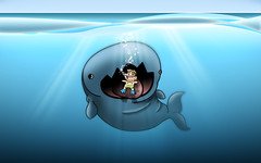 friendly_swim (Brent Nelson) Tags: ocean water illustration fun dive deep eat swimmer whale hungry ate jonah uhoh inspiks|inspirationalpictures vtcutecharacters