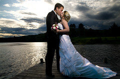Karine and Olivier (Francis Fontaine) Tags: wedding sunset lake pier portfolio onlocation weeding photoquebec