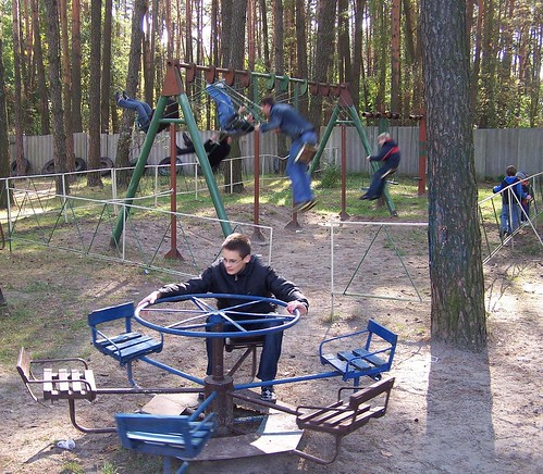 Dominic enjoying dangerous Soviet playground equipment