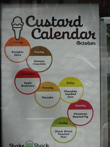 October Custard Calendar