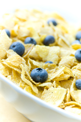 Corn Flake Cereal with Blueberries by TheBusyBrain, on Flickr