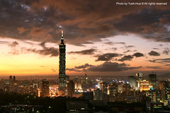 Taipei 101 Skyscraper at Sunset  October 17, 2008 (*Yueh-Hua 2013) Tags: camera sunset building tower architecture night skyscraper canon buildings eos fine taiwan 101  taipei taipei101 dslr   tamron      30d  101  a16      canoneos30d horizontalphotograph tamronspaf1750mmf28xrdiii  taipei101skyscraper taipei101internationalfinancialcenter tigerpeak   2008october