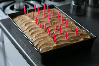 Chocolate Cake w/ Peanut Butter Frosting