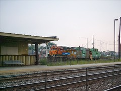 Eastbound BNSF Railway light engine move preparing to depart Clyde Yard. Cicero Illinois. september 2007.