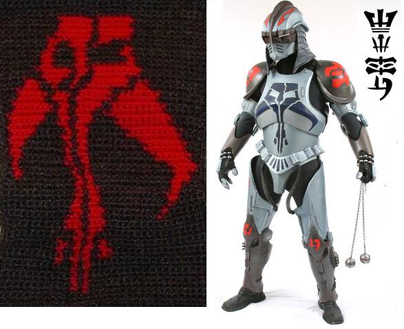 Durge and his Mandalorian Chest Plate Symbol by Dekvenga Delights