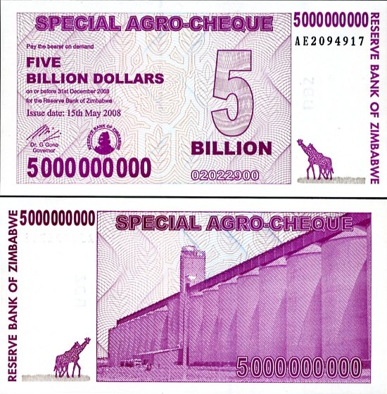 ZIMBABWE 5 BILLION AGRO CHEQUE 2008
