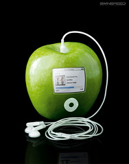 APPLE iPOD (swinspeed) Tags: music white black cute green art apple digital photoshop studio real fun creativity crazy cool interesting ipod jobs good song magic steve feel surreal itunes best adobe photomontage headphones stevejobs genius unreal conceptual ios inc iphone earplug gorilaz iphone4 ios4