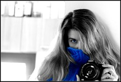 Cold and Blue (Double With Cream (absent...sorry!)) Tags: blue light portrait bw white art me