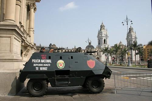Policia Nacional on Plaza de Armas, Lima...