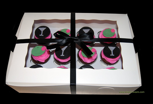 pink and black martini cupcakes
