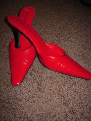 Red Michael Shannon mules
