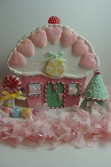Lollipop Lane Gingerbread Cupcake Cottage (skybluecrayons) Tags: christmas tree yellow brad glitter cherry hearts beads aqua handmade pastel mirrors fringe ribbon recycle lollipop candycane whimsical chipboard shabbychic crepepaper upcycle gingerbreadcontest piecefulbits lollishops