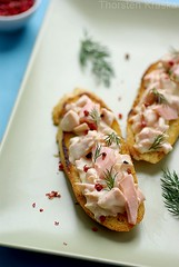 Crostini with salmon spread (Thorsten (TK)) Tags: pink food fish green dill bread starter salmon butter baguette seafood appetizer easy oliveoil redpepper salmonfillet cremefraiche crostini foodphotography foodpresentation foodstyling sourcreme thorstenkraska foodsytling
