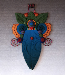 leafy squirmy pendant (labeanabags) Tags: necklace jewelry polymerclay pendant